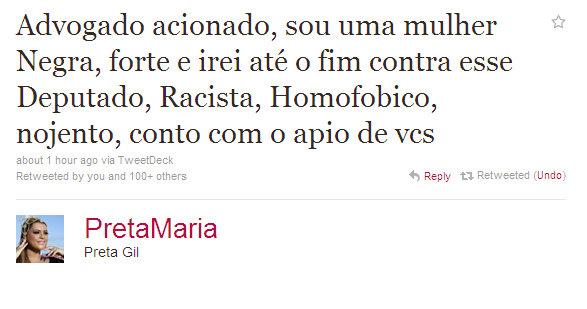 Tweet da Cantora Preta Gil