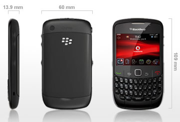 Medidas do Blackberry Curve 8520